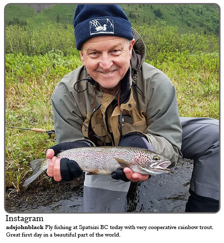Fly fishing at Spatsizi BC today with very cooperative rainbow trout. Great first day in a beautiful part of the world.